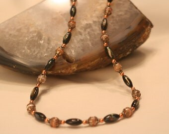 Carved Abalone, Copper and Sterling Silver necklace (1015)
