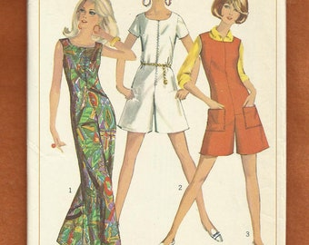 1967 Simplicity 7000 Zipper Front Jumpsuits with Round Neckline Wide Legs Semi Fitted Size 12 Bust 32