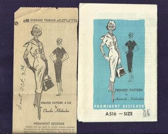 Vintage 1958 Prominent Designer Pattern A516 Antonelli - Kleinbacker Figure Glorifying  Sailor Collar Dress Size 14 UNCUT