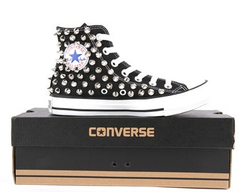 Special offer -Only One - Converse All Star Chuck Taylor high top Converse stud sliver spike Black Shoes Size USW9.5 / UK9.5/  EU43 / 28cm