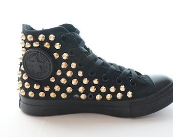 Original Converse AllStar Chuck Taylor high top studded Converse stud gold spike on ALL BLACK Shoes