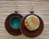 Orange Paisley Fabric Wood and Silver Earrings