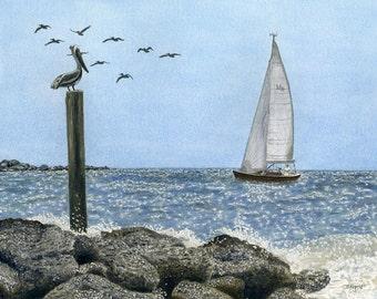 "Watercolor Print - ""Gordon Pass, Naples, FL"""
