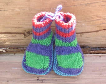 Happy Feet Handknit Primary Colored Baby Booties