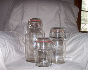 Vintage Clear Glass Canning Jars with glass lids from the 1940's.