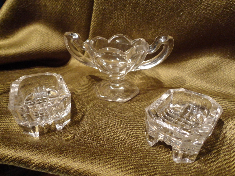 Three Pressed Glass Individual Antique Salt Cellars By Catandpig