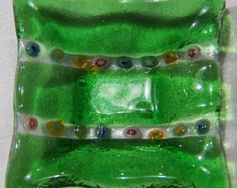 Vintage Italian Venetian Murano Art Glass  Trinket Dish Tray Bowl