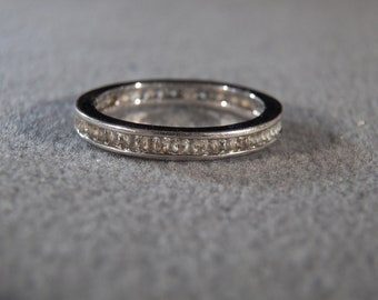 Vintage Sterling Silver Fancy  Domed Multi Round  Cubic Zirconia  Eternity Wedding  Band Ring, Size 10