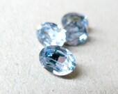 Vintage Swarovski Crystal Sapphire Blue Ovals 8x6mm, Foiled Back Rhinestones, Triple Cut (4)
