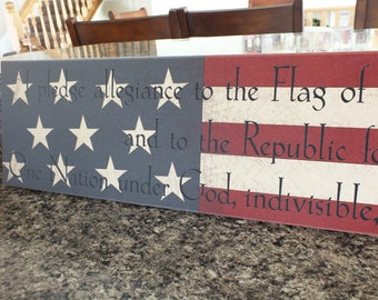 "Americana Sign Pledge of Allegiance Sign Signs w/ Sayings 7""x36"""