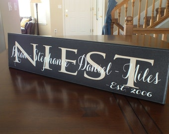 "Personalized Family Name Sign Established 5.5""x24"""