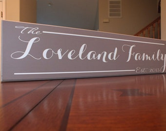 "Personalized Family Name Sign Personalized Family Established Sign Custom 5.5""x24"""
