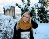 WAS 35 - Mustard yellow chunky crochet handmade scarf