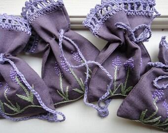 Handmade Pure Linen  Lavender Sachet filled with organic lavender , eco lavender Bag , potpourri