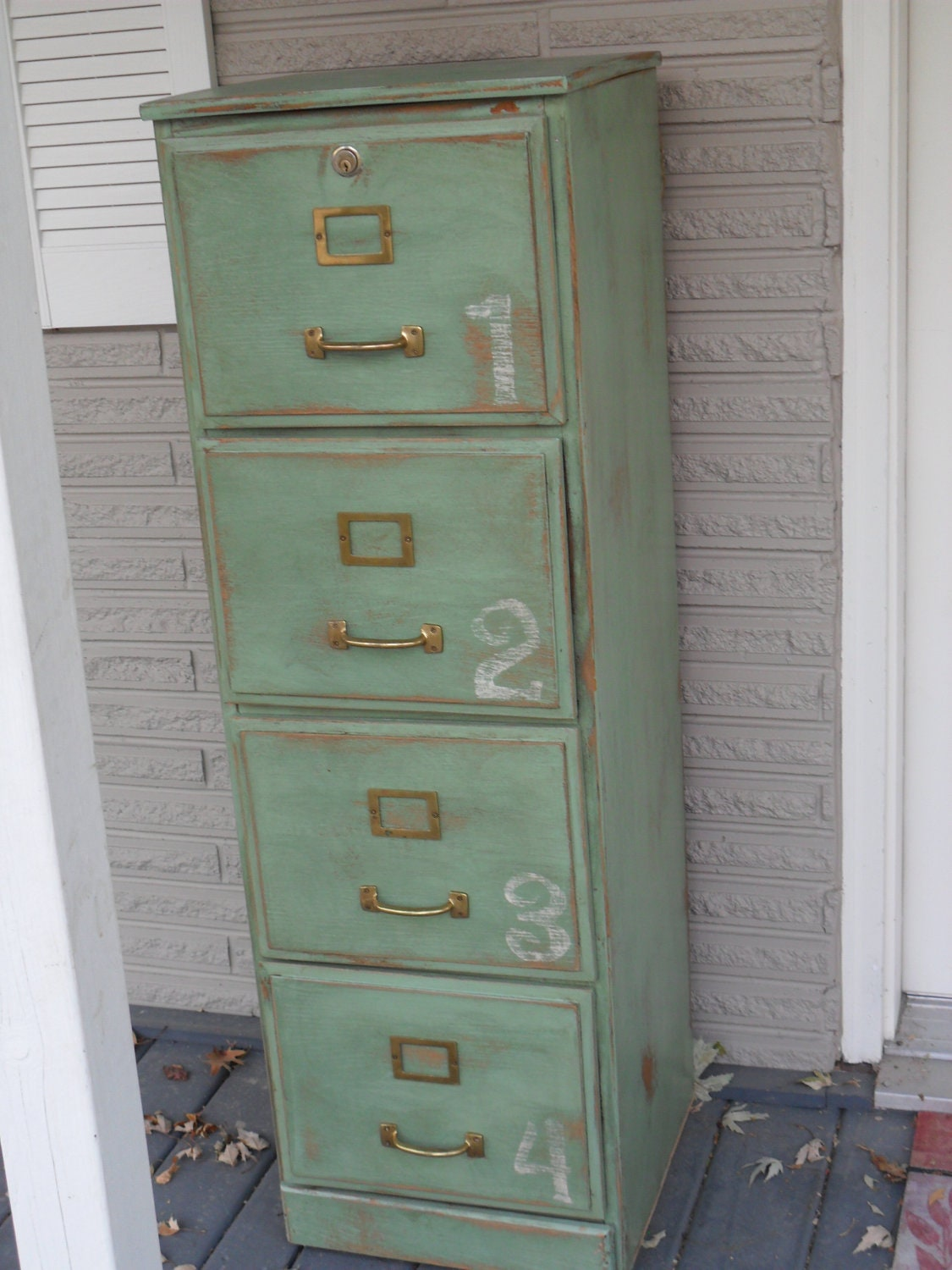 Green Antiqued Wood File Cabinet