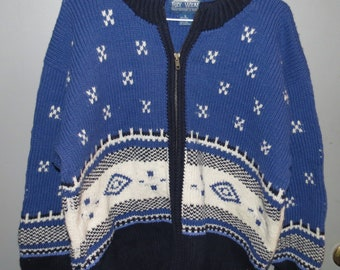 Ray Wear Vintage Tacky Ugly Christmas Sweater Cardigan with Nordic Ski Pattern, Heavy Wool Size L Free Shipping