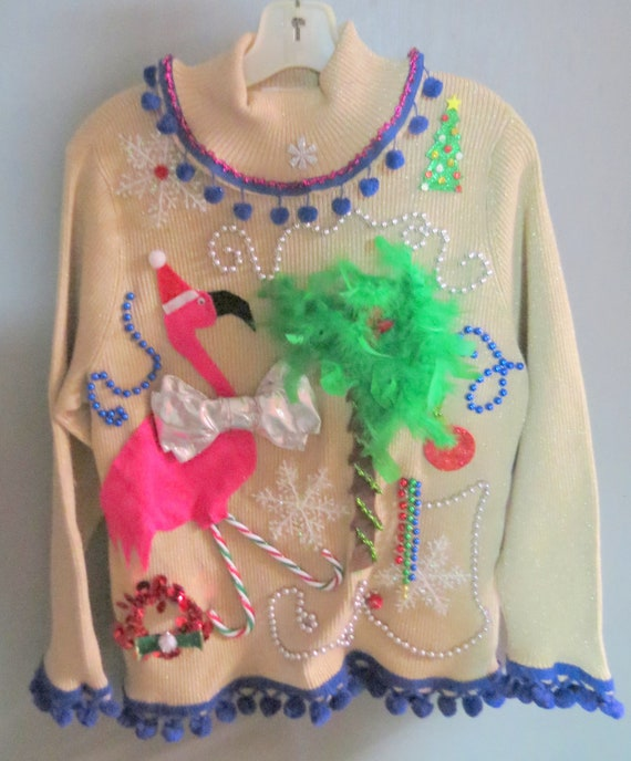 3 D Flamingo Tacky Ugly Christmas Sweater By