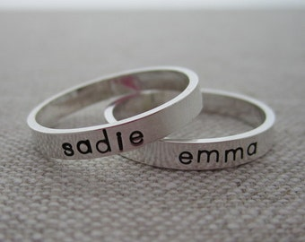 Simple Elegant Personalized Mother's Name Ring - Child's Name Ring - New Mom Ring Hand Stamped Sterling Silver Ring - Hip Mom Jewelry