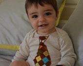 Argyle tie Applique on Long Sleeve white infant one piece bodysuit