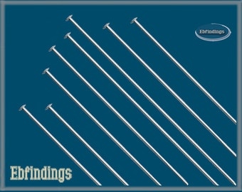 "100pcs 2"" Sterling Silver 925 HEADPINS 22 gauge EB001030pkg"