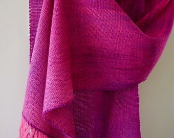 "Handwoven handdyed wool shawl ""Raspberry Parfait"" art to wear"