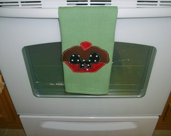 Hand Appliqued Cup Cake Dish Towel