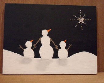 Painting, original, primitive painting on wood. Black and White winter scene of snowman family.  Great gift.  Can be personalized