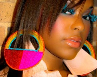 Hypno Horizons Plastic Canvas Hypnotic Earrings