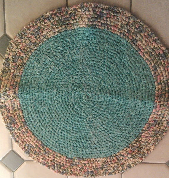 Purple Turquoise Rag Rug: Items Similar To Hand Knotted Rag Rug