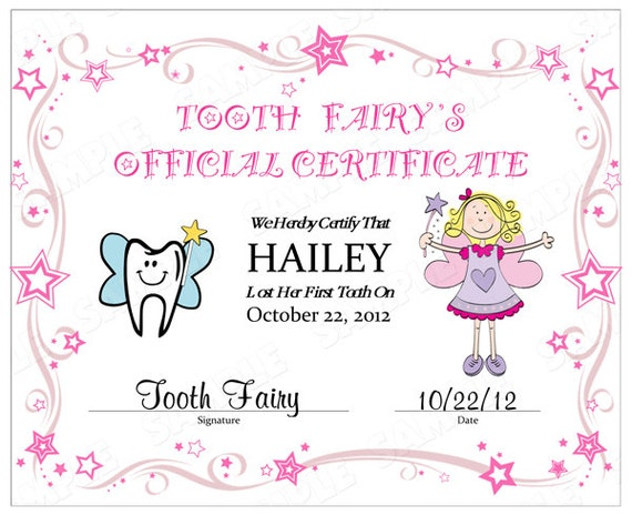 Stupendous image pertaining to tooth fairy certificates printable