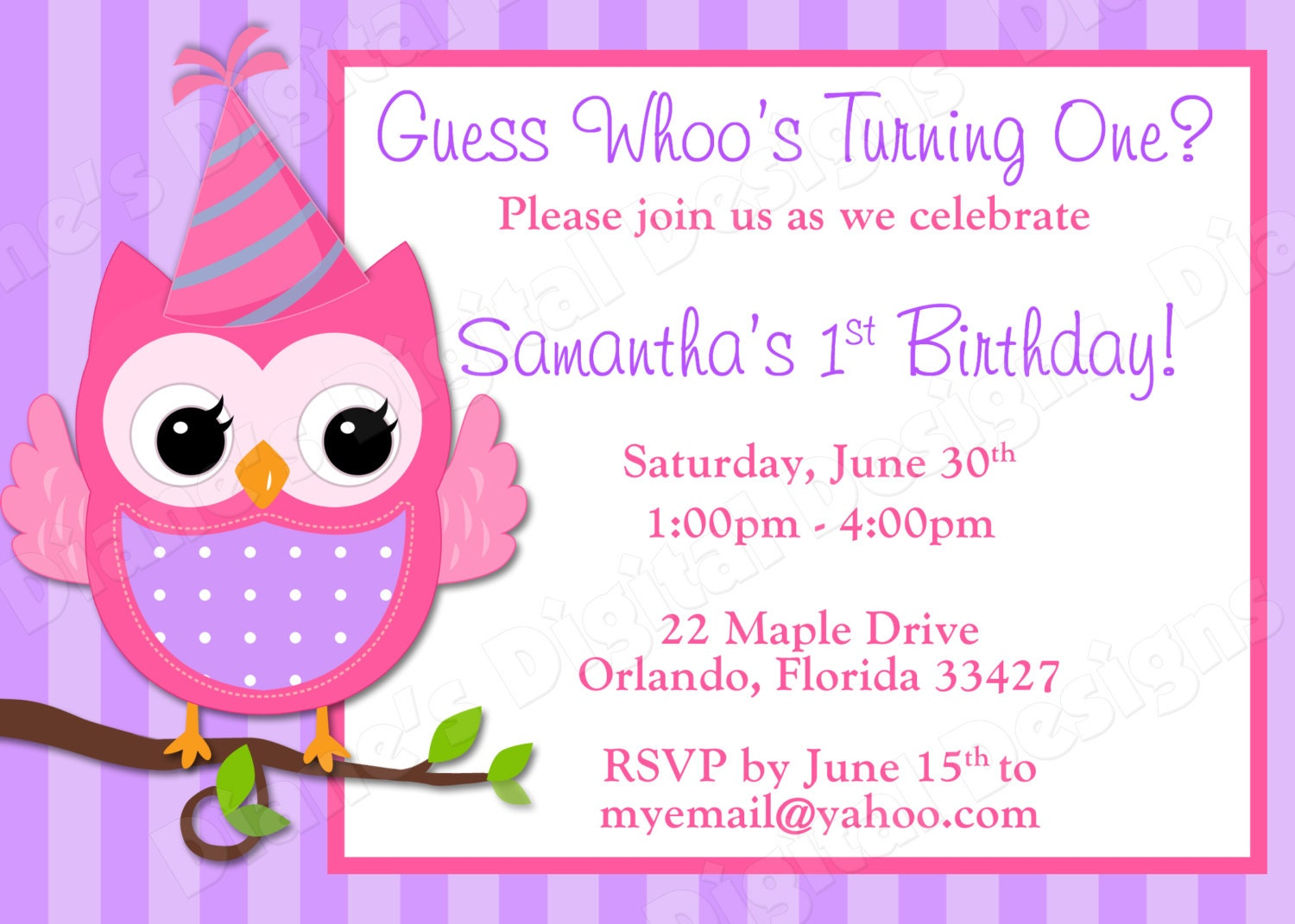 Children's Owl Birthday Invitation Girl Design 3