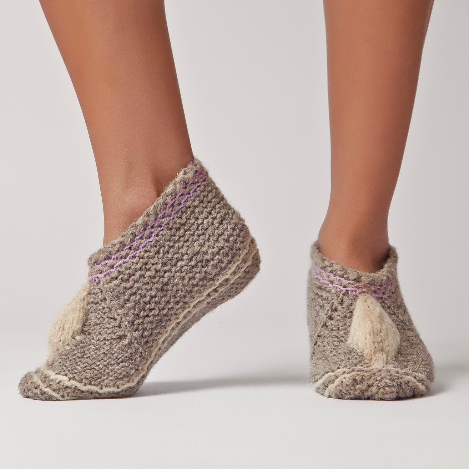 Knitting Pattern Wool Socks : Wool Slippers Handknit Wool Socks Warm Soft Knitted Socks