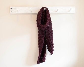Handmade Black Cherry Crocheted Wool Blend Scarf with Free Shipping