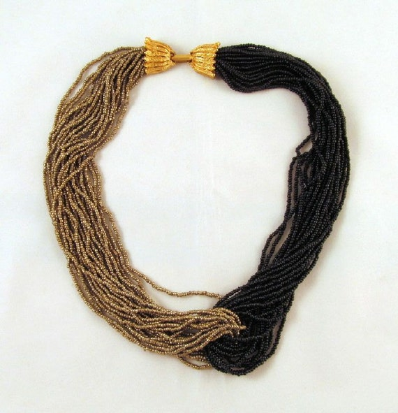 Torsade Necklace: Black Gold Seed Bead Torsade Necklace By GrapenutGlitzJewelry