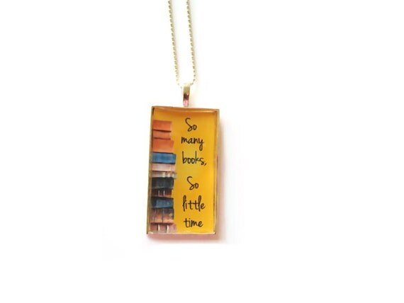 SALE Book Lovers, Book Necklace, Book Pendant, Bookish Jewelry So many books, so little time