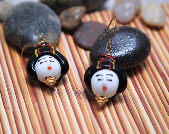Lampworked Geisha Earrings