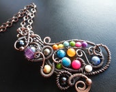 CLEARANCE Talisman Ladies Handwoven Cleansed Smudged and Blessed Oxidized Copper and Multi Stone on Copper Chain