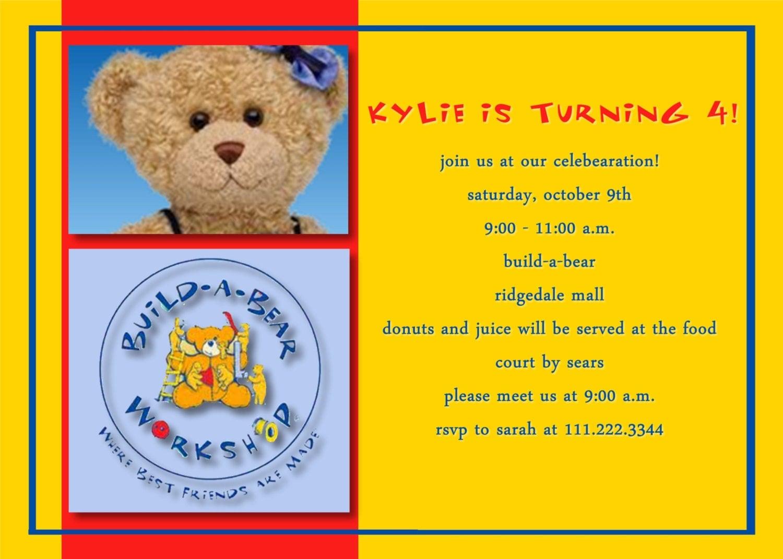 Build-A-Bear themed Birthday Invitation by SweetSwagBySarah