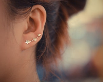 Three Stars Sterling Silver Ear Climbers