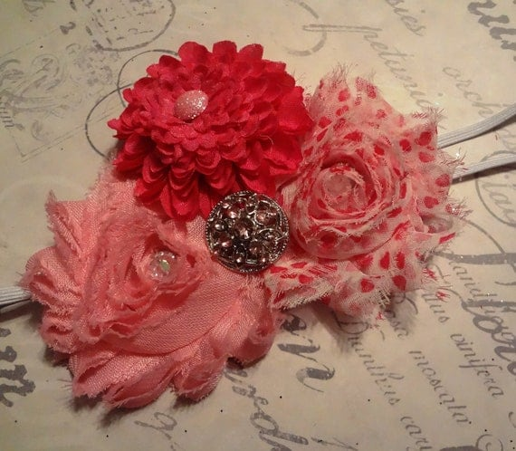 Shades of pink shabby chic cluster flowers elastic headband with bling bling.