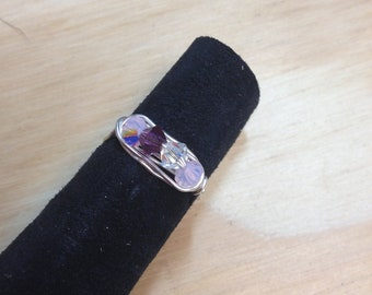 Four crystal custom mother's ring/ birthstone ring