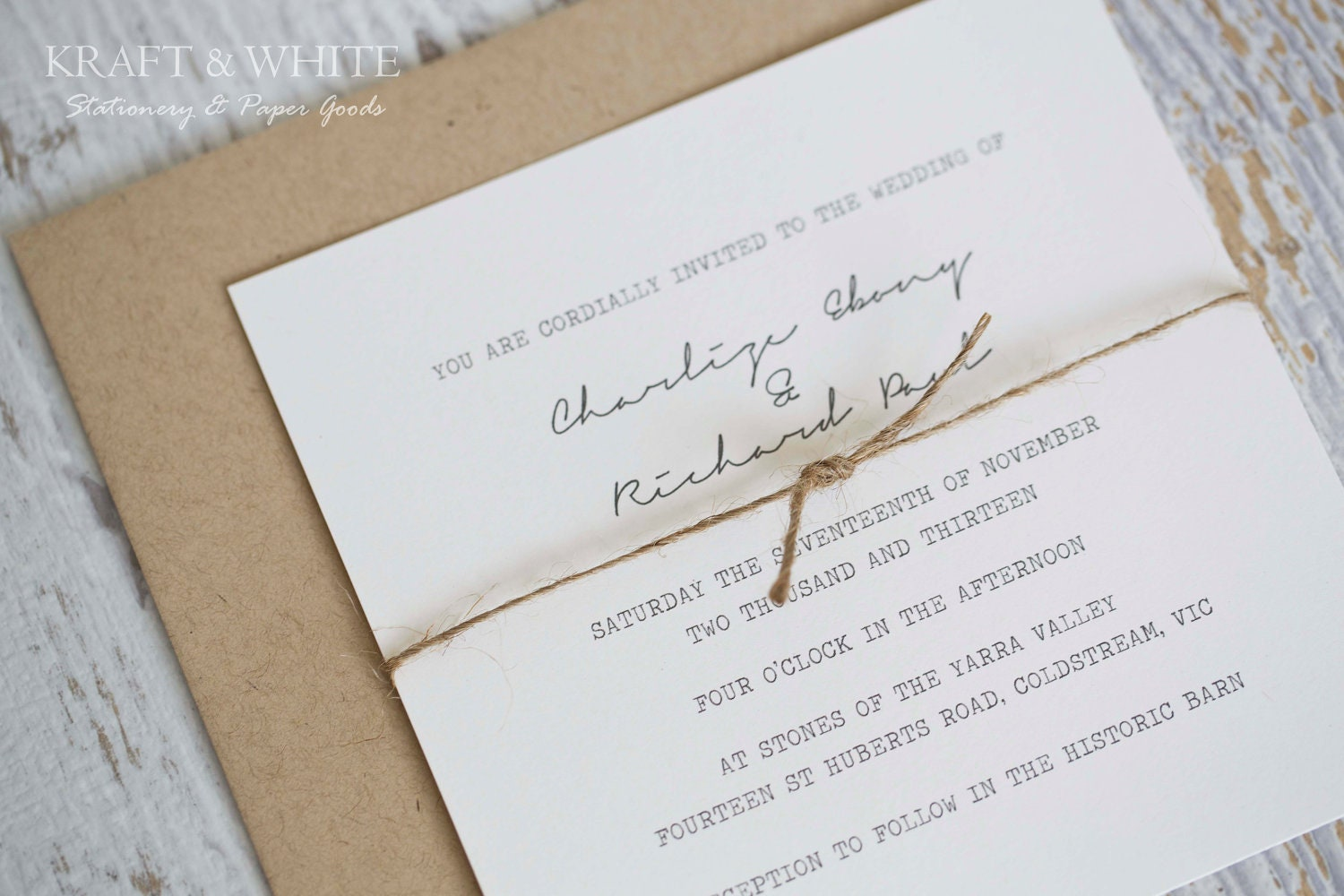 Sample Wedding Invitation Set SUITE 10 Organic Rustic Wedding