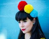 Party PomPom Headband//3 Large Pom Poms//Handmade//Yarn pompom jewelry.//Pom Pom Crown hair accessory. Yellow blue and red.