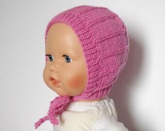 Newborn girl hat bonnet knit baby hat pink bonnet hand knitted newborn baby girl hat photo prop