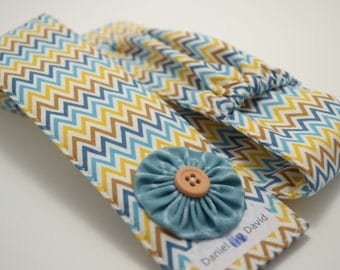 Riley Blake Indie Chic in Multi Chevron with Flower - Monogrammed DSLR Camera Strap Cover with Lens Cap Pocket