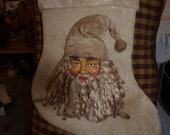 "Primitive Country Christmas Stocking 16"" - RewindTymePrimitives"