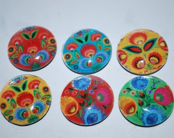 Bright Colored - Glass Magnet set
