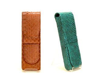Leather pen holder // green lizard - size 'L' (Italian calf leather) - FREE SHIPPING, unique piece