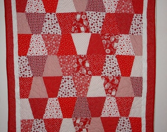 "Red and White Tumbler Lap Quilt 48""X62"