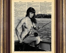 Bettie Page FISHING nude Pin up PINUP Dictionary page Unique gift art print book page art print up cycled